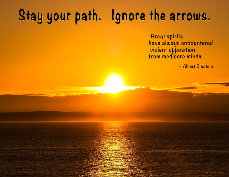 Stay your path, ignore the arrows. [image, thoughts]